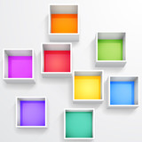 Fototapety 3d isolated Empty colorful bookshelf