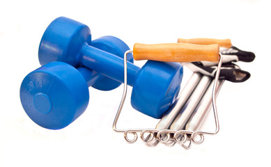 Weights, expander and gloves