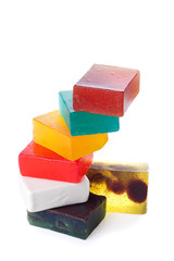 Colorful stack of wet handmade soap | Isolated