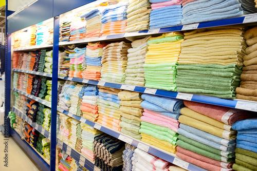 Big shelf with textiles