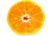 Orange Slices close up over white background
