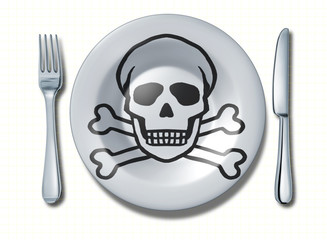 Dangerous food symbol represented by a fork and knife