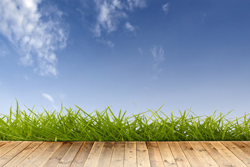 wood floor with green grass and blue sky.