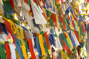 India Rewalsar. Flags with mantras