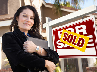 Female Hispanic Real Estate Agent, Sold For Sale Real Esate Sign