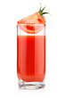 Glass of tomato juice and fruits with green leaves isolated