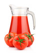 Jug of tomato juice and fruits with green leaves isolated