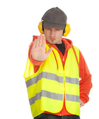 manual worker in protective waistcoat, stop, series