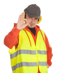 manual worker in protective waistcoat with ok sign, series