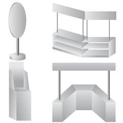 Set of white display. Vector illustration.