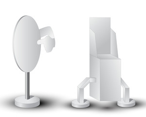 Two white display with pointer. Vector illustration.
