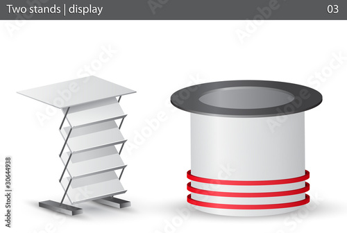 Two white stands.Vector illustration.