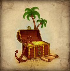 Drawing of pirate's treasure