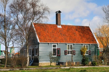 Typical house in Netherlands at spring