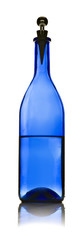 One blue glass bottle with water