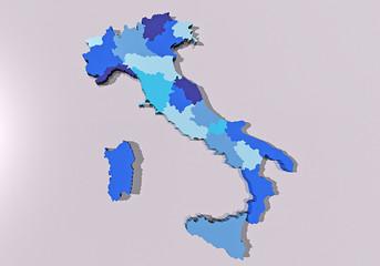 Italia cartina regioni 3d