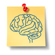 Brain symbol on yellow office note