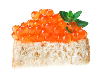 Red caviar sandwich with thyme twig
