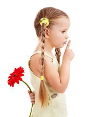 Child giving flower.