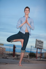 Young Man Doing Yoga