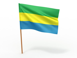 flag fluttering in the wind. Gabon