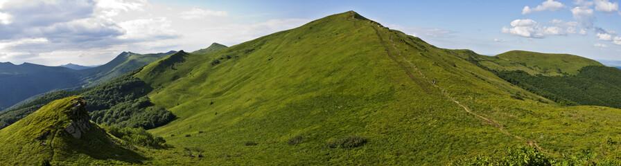 Panoramic green mountain Bieszczady
