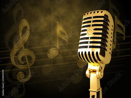 Gold vintage microphon - 30659395