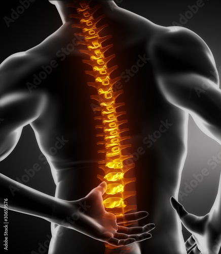 Male spine pain in lumbar part