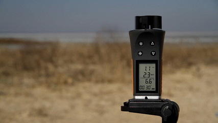 Anemometer rotated by gust of wind