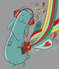 Cartoon rabbit with doodle elements