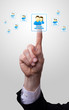 hand pressing social netowork icon