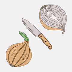Onions with knife