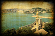 Retro card with turkish architecture, Bodrum city
