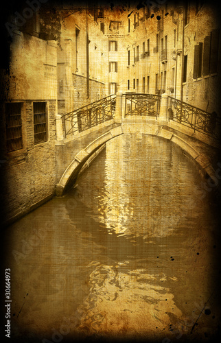 Retro card , old italian Venice