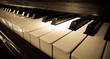 Leinwandbild Motiv Close up shot of piano keyboard