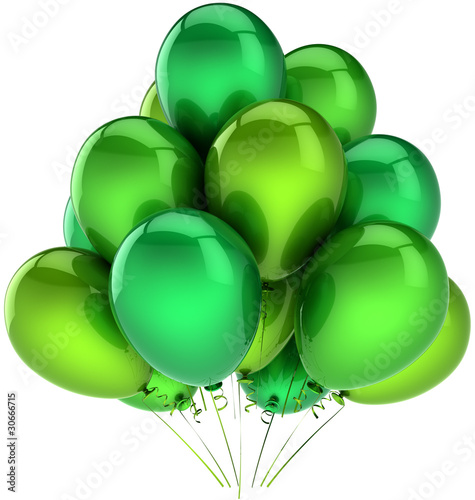 Leinwandbild Motiv Party balloons colored green hues. Beautiful shiny decoration