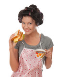 cooking woman in apron with sandwich poster