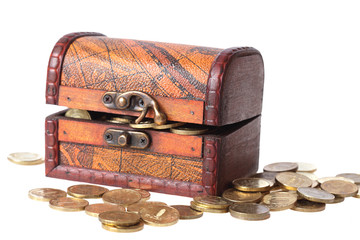 wooden chest filled with gold coins