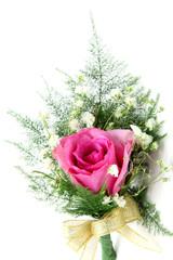 natural pink rose corsage, vertical