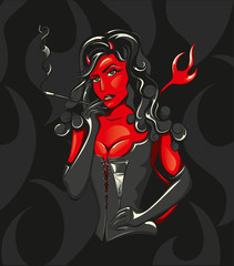 Vector Illustration of a beautiful Devil Woman