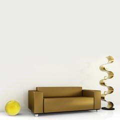 braunes sofa mit skulptur