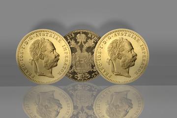 Goldmünzen mit Spiegelung