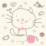 Cute Doodle Kitty Sketch