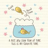 Vector Cute Fish in Aquarium