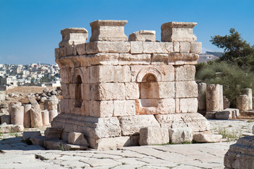 Stone tower in Jerash , Jordan