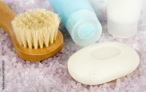 Spa and bodycare - cosmetic brush, soap, salt and lotion