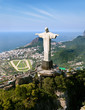 canvas print picture - Dramatic Aerial View of Rio De Janeiro and Christ the Redeemer