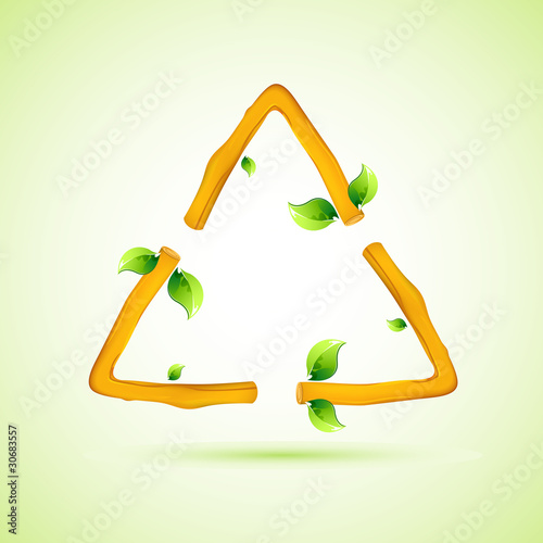 Wooden Recycle Symbol with Leaf