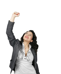 Young woman celebrating a business victory