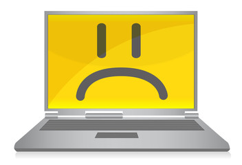sad laptop illustration design isolated over a white background